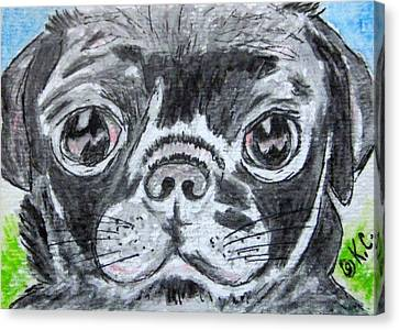 Baby Black Pug Canvas Print by Kathy Marrs Chandler