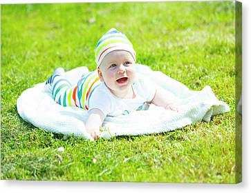 Baby Boy In A Park Canvas Print