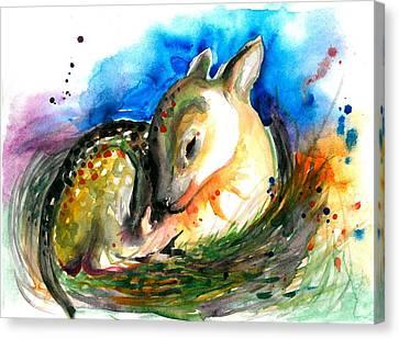Baby Deer Sleeping - After My Original Watercolor On Heavy Paper Canvas Print