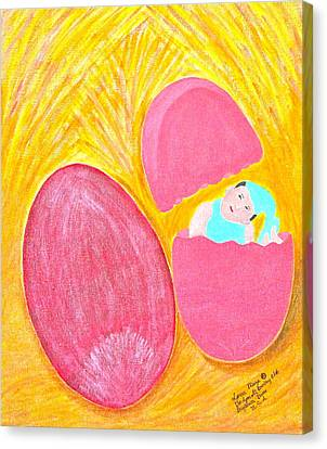 Canvas Print featuring the painting Baby Egg by Lorna Maza