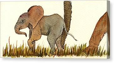 Elephants Canvas Print - Baby Elephant by Juan  Bosco
