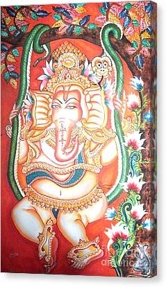 Baby Ganesha Swinging On A Snake Canvas Print by Jayashree