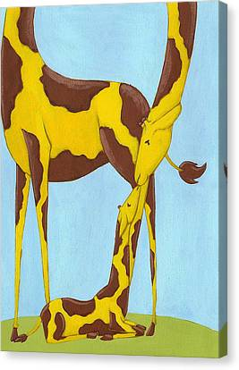 Jungle Animals Canvas Print - Baby Giraffe Nursery Art by Christy Beckwith