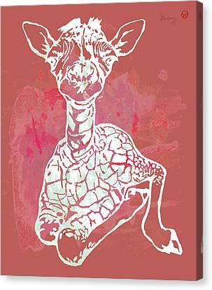 Baby Giraffe -  Pop Modern Etching Art Poster Canvas Print by Kim Wang