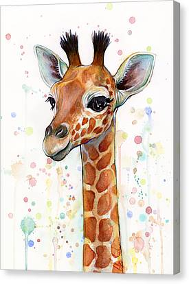 Baby Giraffe Watercolor  Canvas Print by Olga Shvartsur