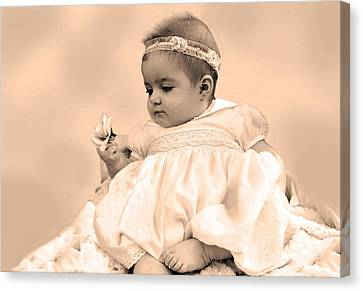 Baby Girl Holding Flower Sepia Canvas Print