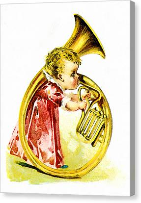 Baby Girl With A French Horn Canvas Print by Vintage Trading Cards