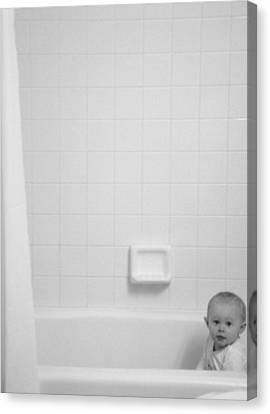 Baby In Tub Canvas Print by J Anthony