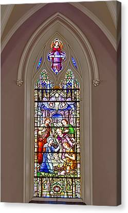 Baby Jesus Stained Glass Window Canvas Print by Susan Candelario