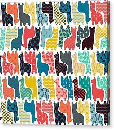Patterned Canvas Print - Baby Llamas by Sharon Turner