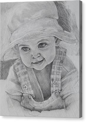 Canvas Print featuring the drawing Baby Meg by Jani Freimann