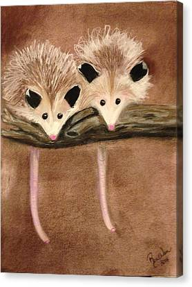 Baby Possums Canvas Print by Renee Michelle Wenker