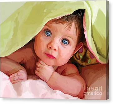 Canvas Print featuring the painting Baby Under Blanket by Tim Gilliland