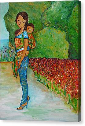 Baby Wearing In The Green Canvas Print