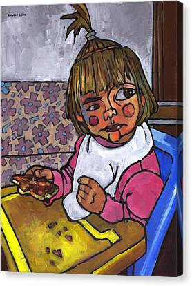 Baby With Pizza Canvas Print by Douglas Simonson