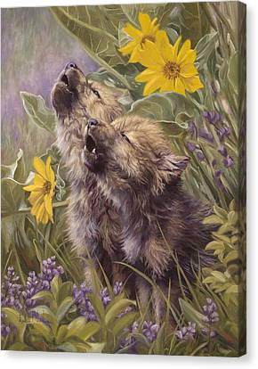 Baby Wolves Howling Canvas Print by Lucie Bilodeau