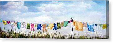Baby's Clothesline Canvas Print by Anna-maria Dickinson