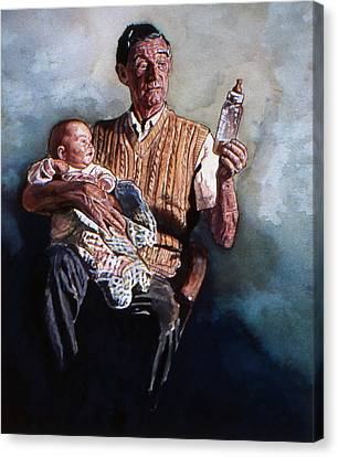 Babysitting  Canvas Print by Michael Haslam