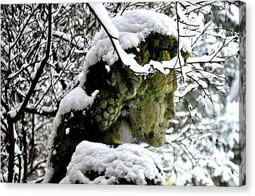 Bacchus Statue Under Snow Canvas Print by Tanya  Searcy