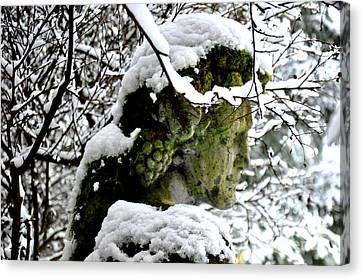 Bacchus Statue Under Snow Canvas Print