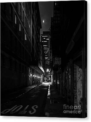 Silver Moonlight Canvas Print - Back Alley Beauty In Black And White by James Aiken
