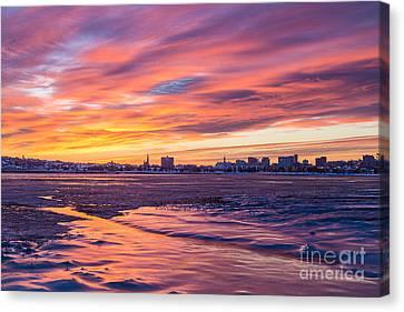 Back Cove Portland Winter Sunrise Canvas Print by Benjamin Williamson