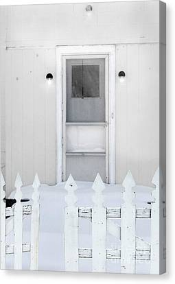Back Door In Winter Canvas Print by Jill Battaglia
