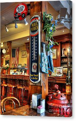 Old Diner Bar Stools Canvas Print - Back In Time by Mel Steinhauer