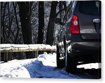 Back Left Side Of Mazda Tribute On The Mountain Road Canvas Print by Newnow Photography By Vera Cepic