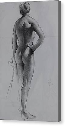 Back Lighting On Nude Canvas Print by Ernest Principato