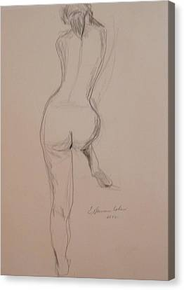 Back Of Nude With Foot Up Canvas Print by Esther Newman-Cohen