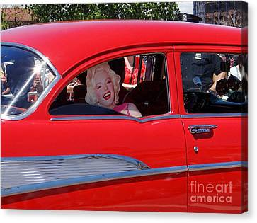 Canvas Print featuring the photograph Back Seat Marilyn by Ed Weidman