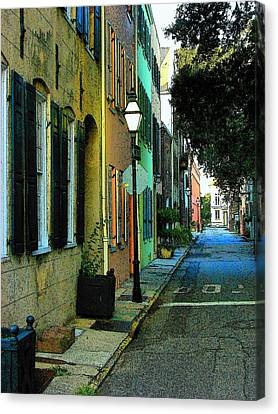 Canvas Print featuring the photograph Back Street In Charleston by Rodney Lee Williams