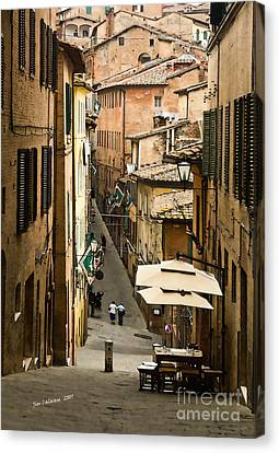 Back Street In Siena Italy Canvas Print by Jim  Calarese