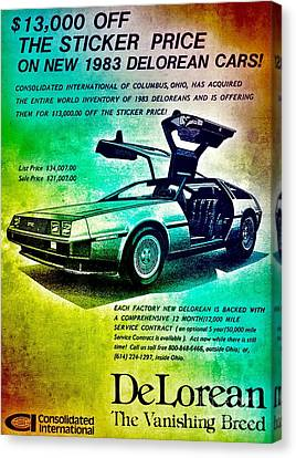 Back To The Delorean Canvas Print by Helge