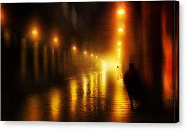 Back To The Past. Alley Of Light Canvas Print by Jenny Rainbow