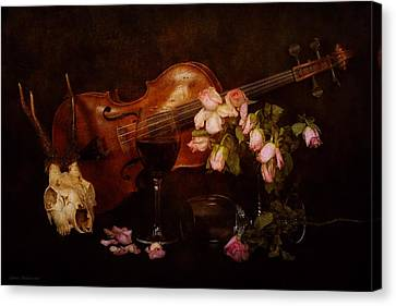 Back To The Past- Still Life With Violin Canvas Print by Guna  Andersone