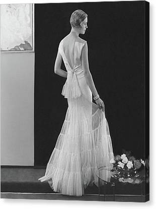 Back View Of A Model Wearing An Evening Gown Canvas Print by Edward Steichen