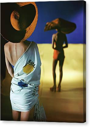 Back View Of Two Models Wearing Sarongs Canvas Print by Serge Balkin