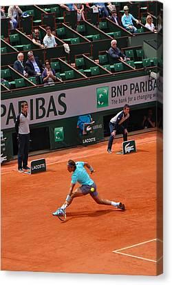 Rafael Nadal's Backhand Slide Canvas Print by Alexi Hoeft