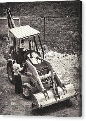 Backhoe Bw Canvas Print by Rudy Umans