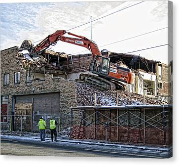 Backhoe Demolition Canvas Print by Daniel Hagerman