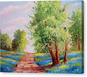 Backroad Bluebonnets Canvas Print by David G Paul