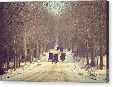 Winter Roads Canvas Print - Backroad Buggies by Carrie Ann Grippo-Pike