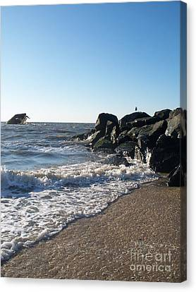 Seaside Heights Canvas Print - Backwash On Sunset Beach Cape May by Eric  Schiabor