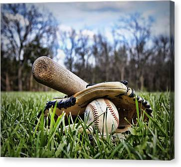 Baseball Glove Canvas Print - Backyard Baseball Memories by Cricket Hackmann
