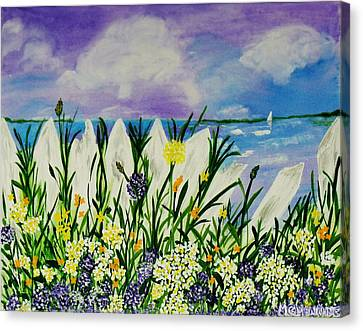Canvas Print featuring the painting Backyard Beach by Celeste Manning