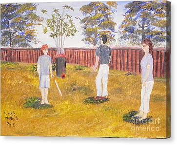 Canvas Print featuring the painting Backyard Cricket Under The Hot Australian Sun by Pamela  Meredith