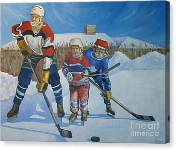 Backyard Ice Hockey Canvas Print by Christina Clare