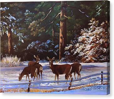 Backyard Visitors Canvas Print by Suzanne Schaefer